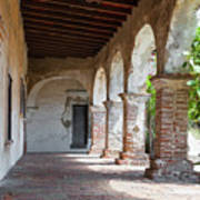 Brick And Stone Arches Line Walkway In Old Mission Ruin Art Print