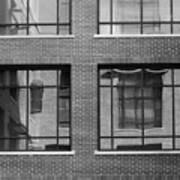 Brick Building Black And White Art Print