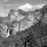 Bridalveil Falls From Tunnel View B And W Art Print