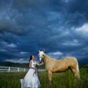 Bride And Horse With Storm Art Print