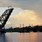Bridge And Rainbow Over Seekonk River Art Print