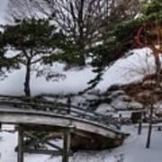 Bridge At Botanical Garden Art Print