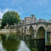Bridge At Quissac - P4a16005 Art Print