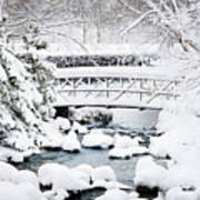 Bridge In Winter Snow Art Print