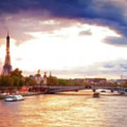 Bridge Of Alexandre IIi And Eiffel At Violet Sunset Art Print