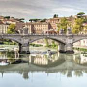 Bridge Over The River Tevere, Rome, Italy Art Print