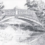 Bridge Over The River White Cart Art Print by Brandy Woods