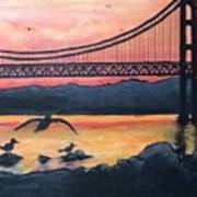 Bridge Silhouette  Art Print