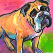 Bright Bulldog Portrait Painting  Art Print