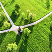 Bright Green Spring Meadow Aerial Photo Art Print