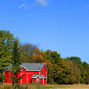 Bright Red Barn Art Print