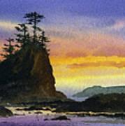 Bright Seacoast Sunset Art Print