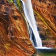 Brilliant Colored Walls Of Utah's Lower Calf Creek Falls. Art Print