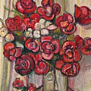 Brilliant Red Flower Oil Pastel Art Print