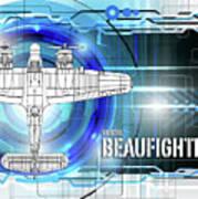 Bristol Beaufighter Blueprint Art Print