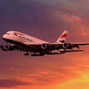 British Airways A380 G-xlef Art Print