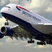 British Airways Airbus A380 Art Print