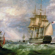 British Men-o'-war Sailing Into Cork Harbour  Art Print