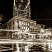 Broadway Lights - Nashville Tennessee Skyline Sepia Art Print