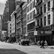 Broadway, New York In Black And White Art Print