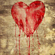 Broken And Bleeding Heart On The Wall Art Print