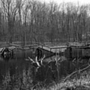 Broken Bridges In Black And White Art Print