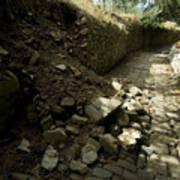 Broken Stone Wall Cascades Stones Art Print