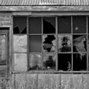 Broken Store Front Black White Art Print