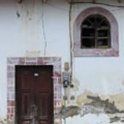 Broken Window And Wood Door Art Print