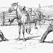 Bronco Busters Saddling Print by Granger