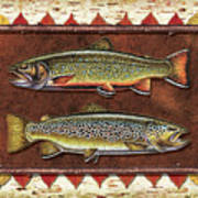 Brook And Brown Trout Lodge Art Print