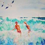 Brooke And Carey In The Shore Break Art Print