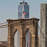 Brooklyn Bridge And One World Trade Center In New York City  Art Print