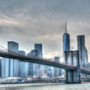 Brooklyn Bridge And The Lower Manhattan Financial District Art Print