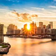 Brooklyn Bridge And The Lower Manhattan Skyline At Sunset Art Print