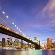 Brooklyn Bridge And The Manhattan Skyline Art Print