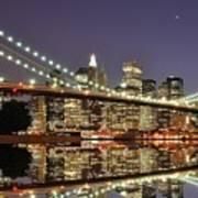 Brooklyn Bridge At Night Art Print by Sean Pavone