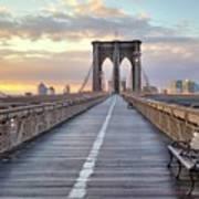 Brooklyn Bridge At Sunrise Print by Anne Strickland Fine Art Photography
