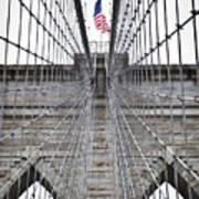 Brooklyn Bridge Flag Art Print