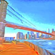 Brooklyn Bridge New York Pop Art Art Print