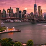 Brooklyn Bridge Over New York Skyline At Sunset Art Print