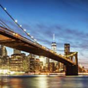 Brooklyn Bridge Panoramic At Night, New York, Usa Art Print