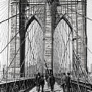 Brooklyn Bridge Promenade 1898 - New York Art Print