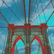 Brooklyn Bridge Red Shadows Art Print