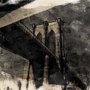 Brooklyn Bridge Reflection Abstract Art Print