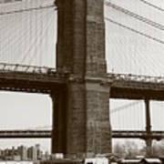 Brooklyn Bridge River Cafe Art Print