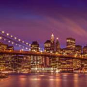 Brooklyn Bridge Sunset - Panorama Art Print