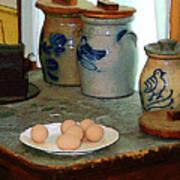 Brown Eggs And Ginger Jars Art Print