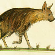 Brown Hyena Animal Art Art Print