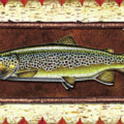 Brown Trout Lodge Art Print by JQ Licensing